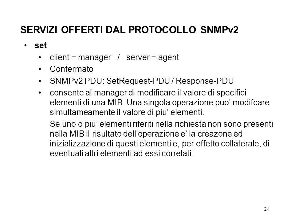 24 SERVIZI OFFERTI DAL PROTOCOLLO SNMPv2 set client = manager / server = agent Confermato SNMPv2 PDU: SetRequest-PDU / Response-PDU consente al manager di modificare il valore di specifici elementi di una MIB.