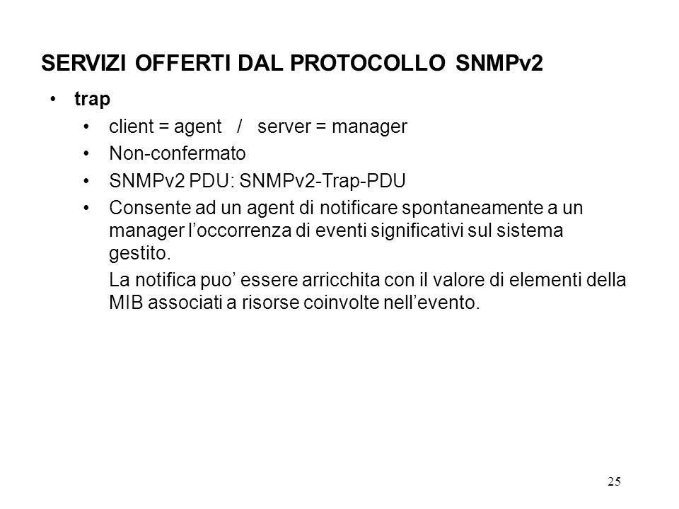 25 SERVIZI OFFERTI DAL PROTOCOLLO SNMPv2 trap client = agent / server = manager Non-confermato SNMPv2 PDU: SNMPv2-Trap-PDU Consente ad un agent di notificare spontaneamente a un manager loccorrenza di eventi significativi sul sistema gestito.