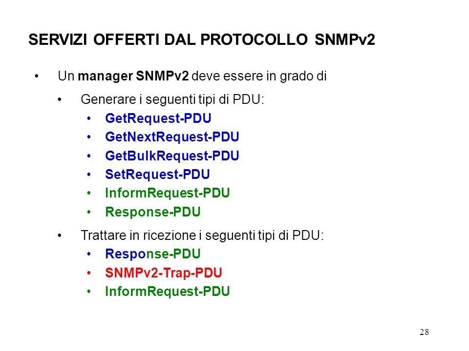 28 SERVIZI OFFERTI DAL PROTOCOLLO SNMPv2 Un manager SNMPv2 deve essere in grado di Generare i seguenti tipi di PDU: GetRequest-PDU GetNextRequest-PDU GetBulkRequest-PDU SetRequest-PDU InformRequest-PDU Response-PDU Trattare in ricezione i seguenti tipi di PDU: Response-PDU SNMPv2-Trap-PDU InformRequest-PDU