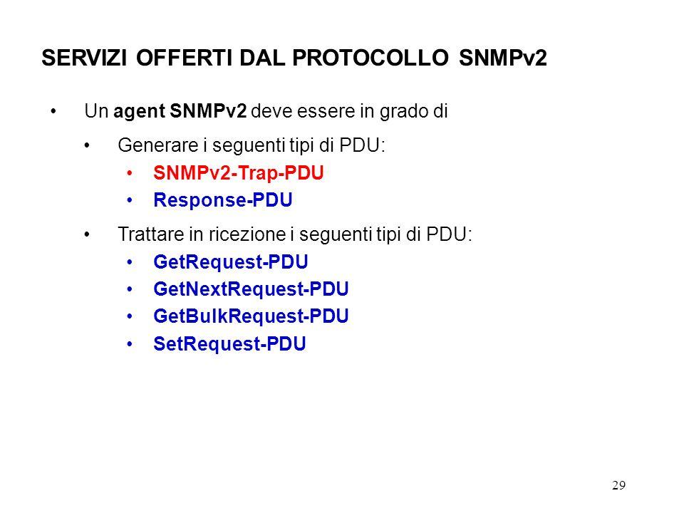 29 SERVIZI OFFERTI DAL PROTOCOLLO SNMPv2 Un agent SNMPv2 deve essere in grado di Generare i seguenti tipi di PDU: SNMPv2-Trap-PDU Response-PDU Trattare in ricezione i seguenti tipi di PDU: GetRequest-PDU GetNextRequest-PDU GetBulkRequest-PDU SetRequest-PDU