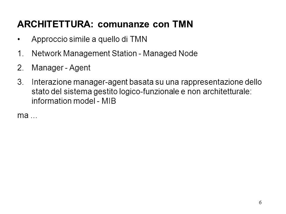 7 ARCHITETTURA: differenze con TMN 1.Approccio remote debugging vs.