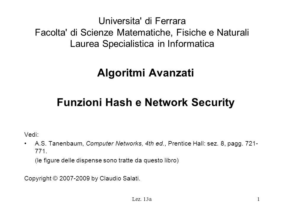 Lez. 13a1 Universita' di Ferrara Facolta' di Scienze Matematiche, Fisiche e Naturali Laurea Specialistica in Informatica Algoritmi Avanzati Funzioni H
