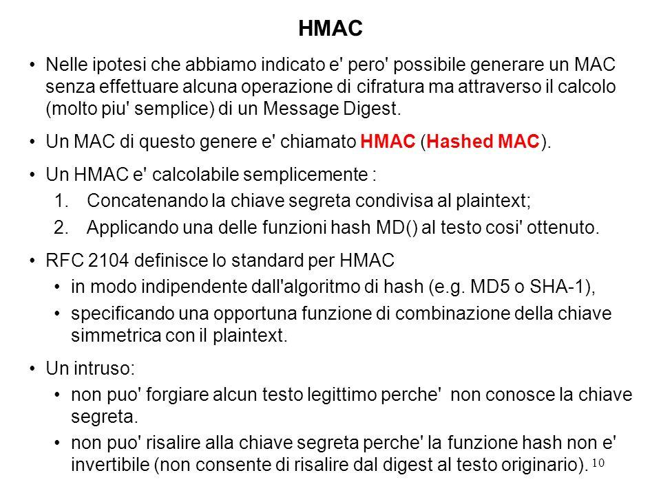 10 Nelle ipotesi che abbiamo indicato e' pero' possibile generare un MAC senza effettuare alcuna operazione di cifratura ma attraverso il calcolo (mol