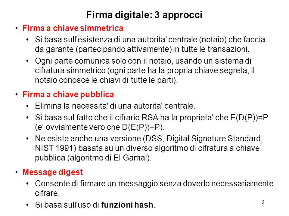 3 Firma digitale: 3 approcci Firma a chiave simmetrica Si basa sull'esistenza di una autorita' centrale (notaio) che faccia da garante (partecipando a
