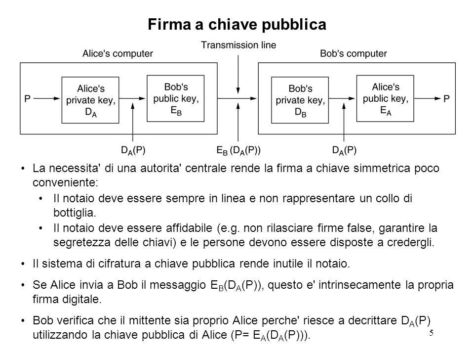 5 Firma a chiave pubblica La necessita' di una autorita' centrale rende la firma a chiave simmetrica poco conveniente: Il notaio deve essere sempre in