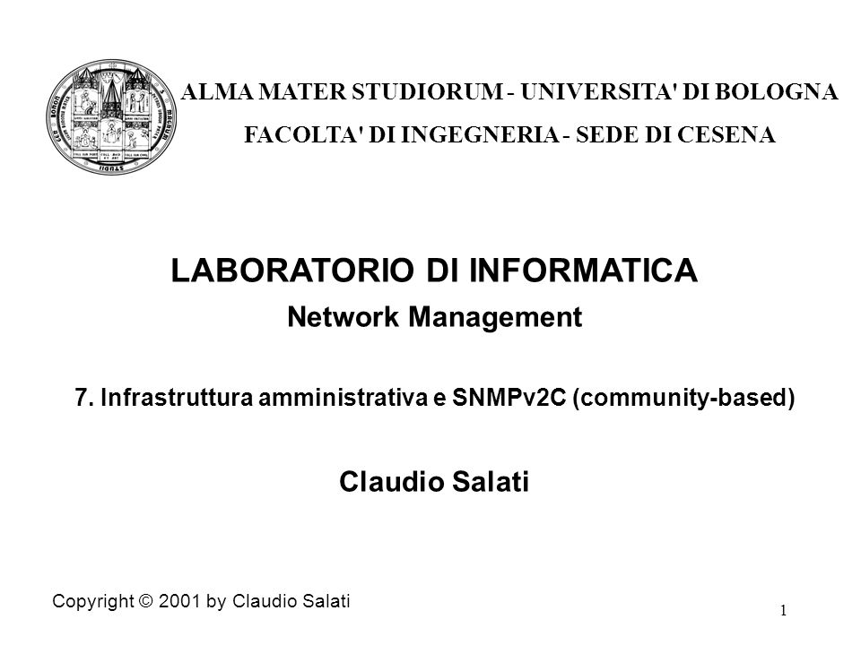 1 LABORATORIO DI INFORMATICA Network Management 7.