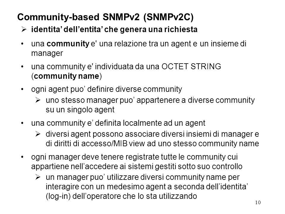 10 Community-based SNMPv2 (SNMPv2C) identita dellentita che genera una richiesta una community e una relazione tra un agent e un insieme di manager una community e individuata da una OCTET STRING (community name) ogni agent puo definire diverse community uno stesso manager puo appartenere a diverse community su un singolo agent una community e definita localmente ad un agent diversi agent possono associare diversi insiemi di manager e di diritti di accesso/MIB view ad uno stesso community name ogni manager deve tenere registrate tutte le community cui appartiene nellaccedere ai sistemi gestiti sotto suo controllo un manager puo utilizzare diversi community name per interagire con un medesimo agent a seconda dellidentita (log-in) delloperatore che lo sta utilizzando