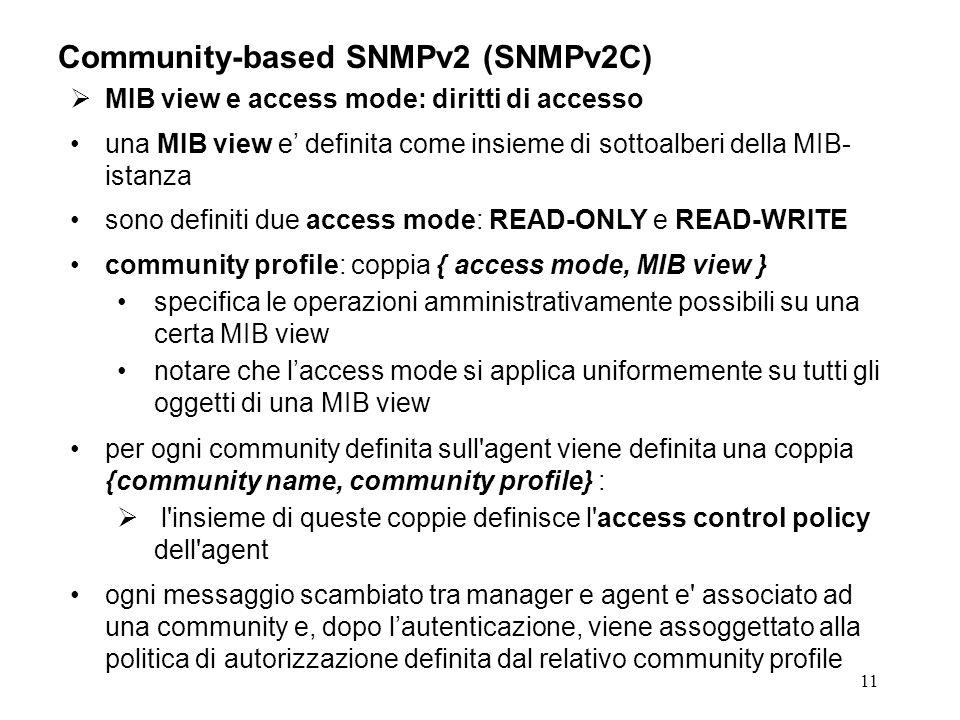 11 Community-based SNMPv2 (SNMPv2C) MIB view e access mode: diritti di accesso una MIB view e definita come insieme di sottoalberi della MIB- istanza sono definiti due access mode: READ-ONLY e READ-WRITE community profile: coppia { access mode, MIB view } specifica le operazioni amministrativamente possibili su una certa MIB view notare che laccess mode si applica uniformemente su tutti gli oggetti di una MIB view per ogni community definita sull agent viene definita una coppia {community name, community profile} : l insieme di queste coppie definisce l access control policy dell agent ogni messaggio scambiato tra manager e agent e associato ad una community e, dopo lautenticazione, viene assoggettato alla politica di autorizzazione definita dal relativo community profile