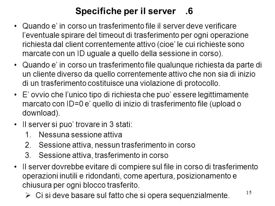 15 Quando e in corso un trasferimento file il server deve verificare leventuale spirare del timeout di trasferimento per ogni operazione richiesta dal client correntemente attivo (cioe le cui richieste sono marcate con un ID uguale a quello della sessione in corso).