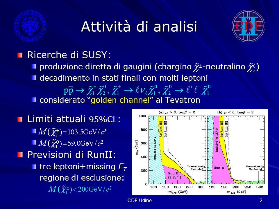 CDF-Udine 2 Attività di analisi Limiti attuali 95%CL : Previsioni di RunII: tre leptoni+missing E T regione di esclusione: Ricerche di SUSY: produzion