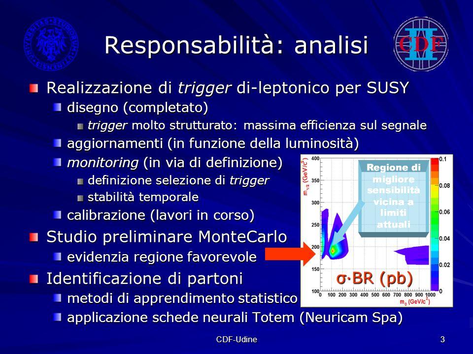 CDF-Udine 3 Responsabilità: analisi Realizzazione di trigger di-leptonico per SUSY disegno (completato) trigger molto strutturato: massima efficienza