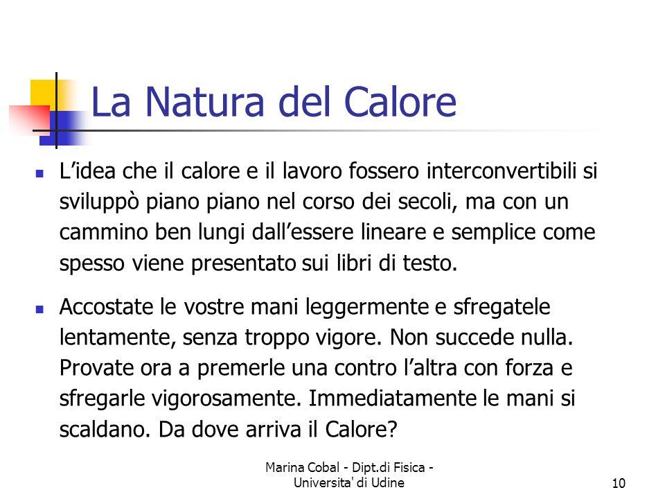 Marina Cobal - Dipt.di Fisica - Universita' di Udine10 La Natura del Calore Lidea che il calore e il lavoro fossero interconvertibili si sviluppò pian