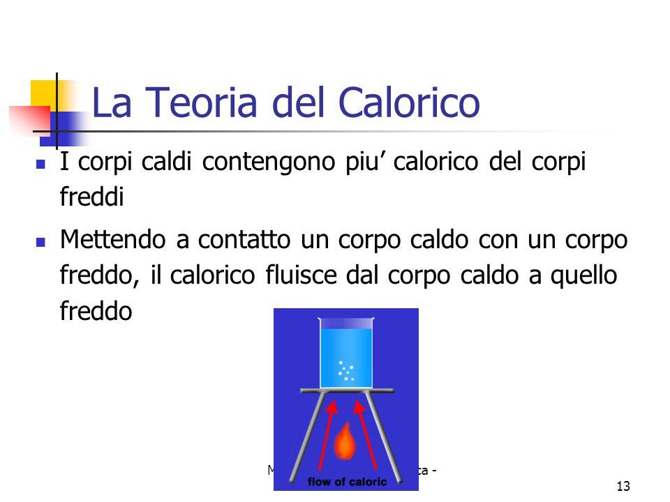 Marina Cobal - Dipt.di Fisica - Universita' di Udine13 La Teoria del Calorico I corpi caldi contengono piu calorico del corpi freddi Mettendo a contat