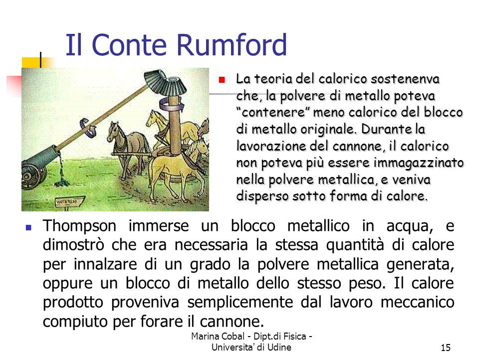 Marina Cobal - Dipt.di Fisica - Universita' di Udine15 Il Conte Rumford Thompson immerse un blocco metallico in acqua, e dimostrò che era necessaria l