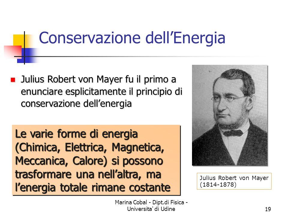Marina Cobal - Dipt.di Fisica - Universita' di Udine19 Conservazione dellEnergia Julius Robert von Mayer (1814-1878) Julius Robert von Mayer fu il pri