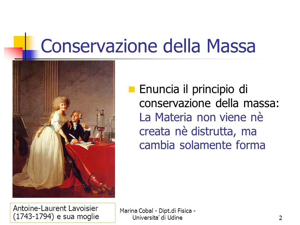 Marina Cobal - Dipt.di Fisica - Universita' di Udine2 Conservazione della Massa Enuncia il principio di conservazione della massa: La Materia non vien