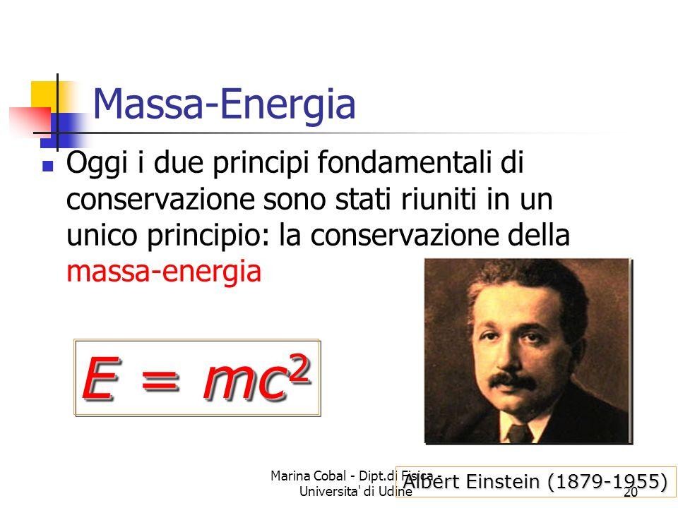 Marina Cobal - Dipt.di Fisica - Universita' di Udine20 Massa-Energia Oggi i due principi fondamentali di conservazione sono stati riuniti in un unico