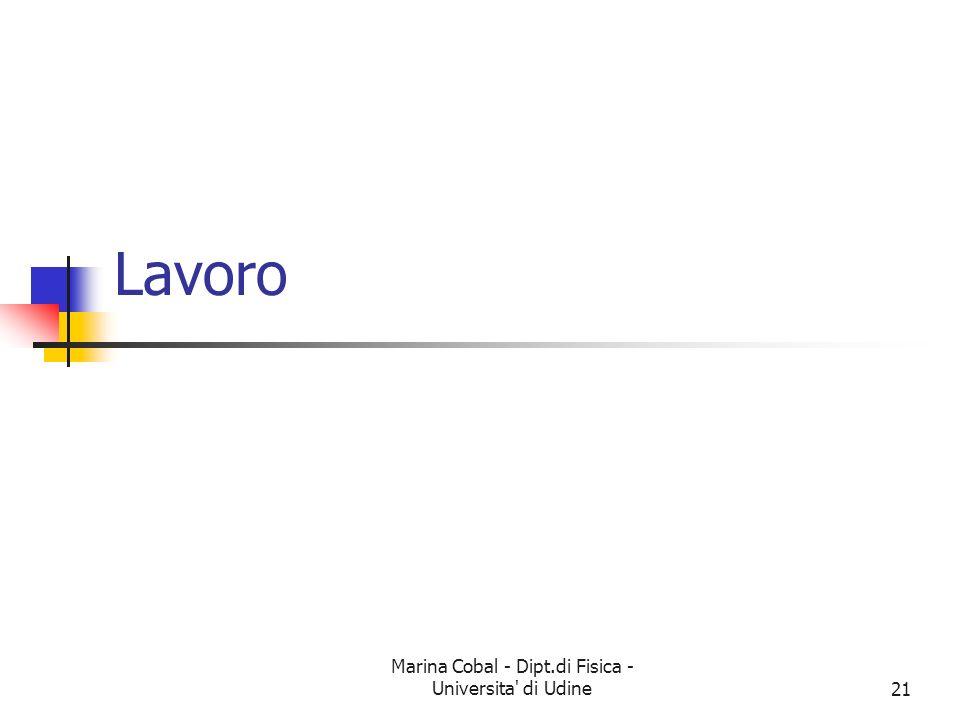 Marina Cobal - Dipt.di Fisica - Universita' di Udine21 Lavoro