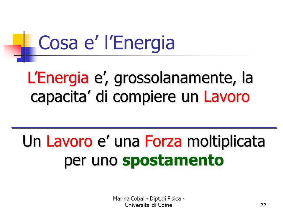 Marina Cobal - Dipt.di Fisica - Universita' di Udine22 Cosa e lEnergia LEnergia e, grossolanamente, la capacita di compiere un Lavoro Un Lavoro e una