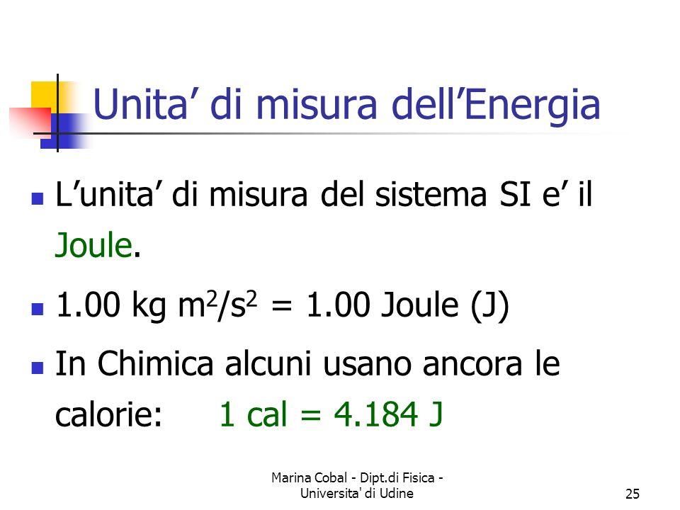 Marina Cobal - Dipt.di Fisica - Universita' di Udine25 Lunita di misura del sistema SI e il Joule. 1.00 kg m 2 /s 2 = 1.00 Joule (J) In Chimica alcuni