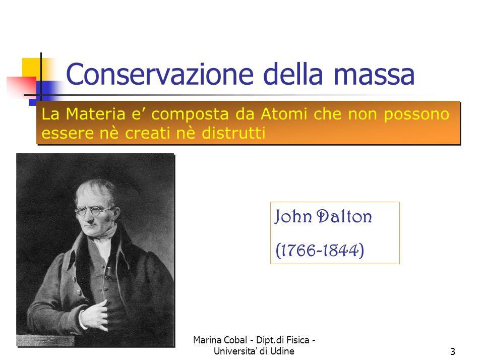 Marina Cobal - Dipt.di Fisica - Universita' di Udine3 Conservazione della massa La Materia e composta da Atomi che non possono essere nè creati nè dis
