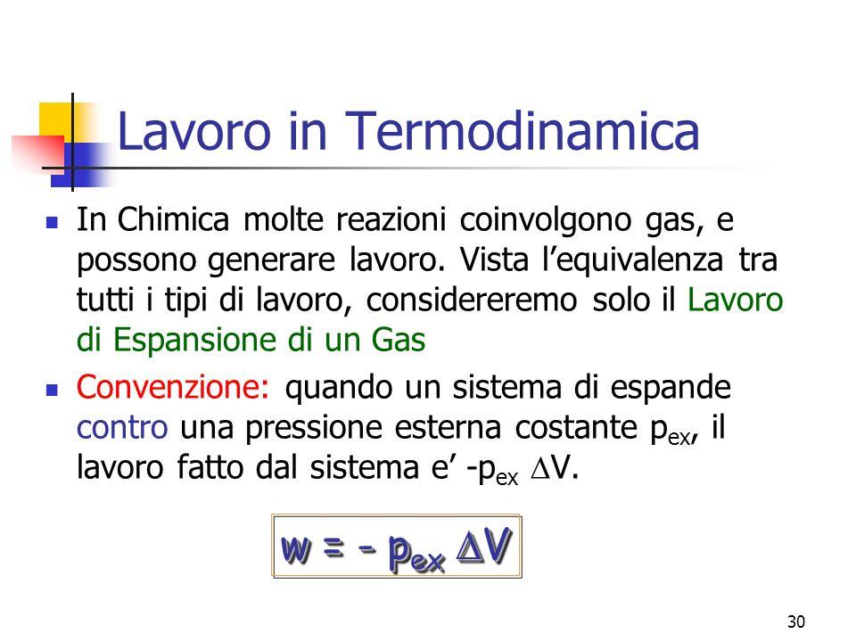30 Lavoro in Termodinamica In Chimica molte reazioni coinvolgono gas, e possono generare lavoro. Vista lequivalenza tra tutti i tipi di lavoro, consid