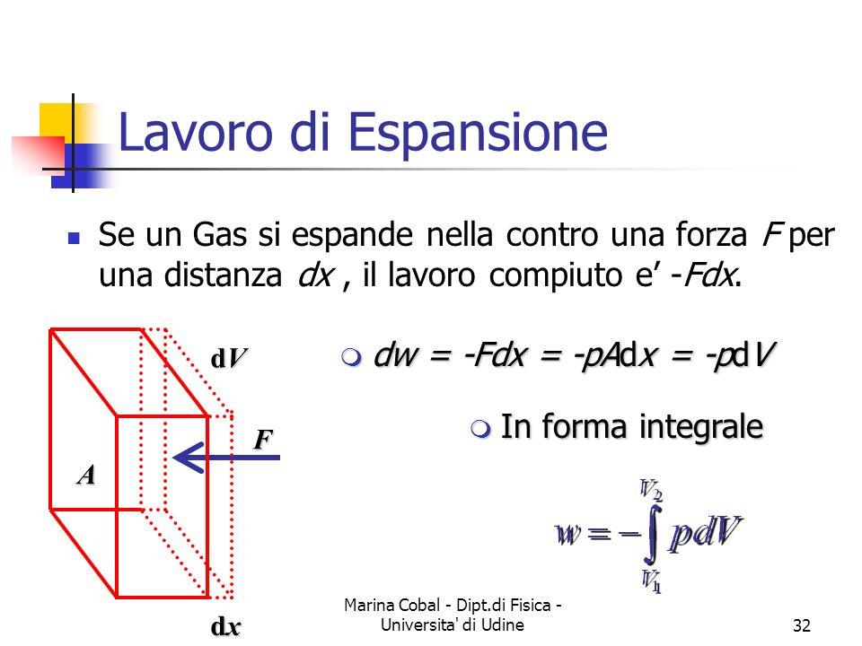 Marina Cobal - Dipt.di Fisica - Universita' di Udine32 Lavoro di Espansione Se un Gas si espande nella contro una forza F per una distanza dx, il lavo