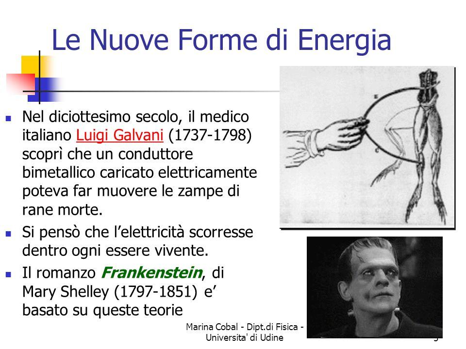 Marina Cobal - Dipt.di Fisica - Universita' di Udine5 Le Nuove Forme di Energia Nel diciottesimo secolo, il medico italiano Luigi Galvani (1737-1798)