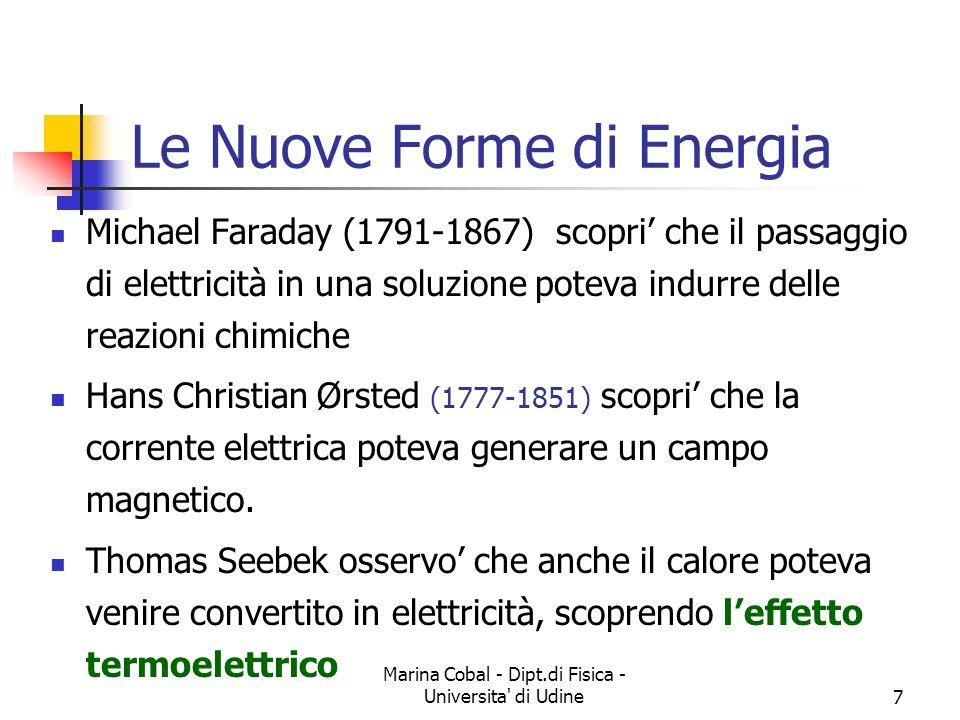 Marina Cobal - Dipt.di Fisica - Universita' di Udine7 Le Nuove Forme di Energia Michael Faraday (1791-1867) scopri che il passaggio di elettricità in