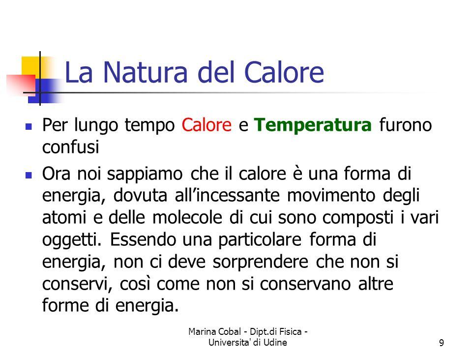 Marina Cobal - Dipt.di Fisica - Universita' di Udine9 La Natura del Calore Per lungo tempo Calore e Temperatura furono confusi Ora noi sappiamo che il