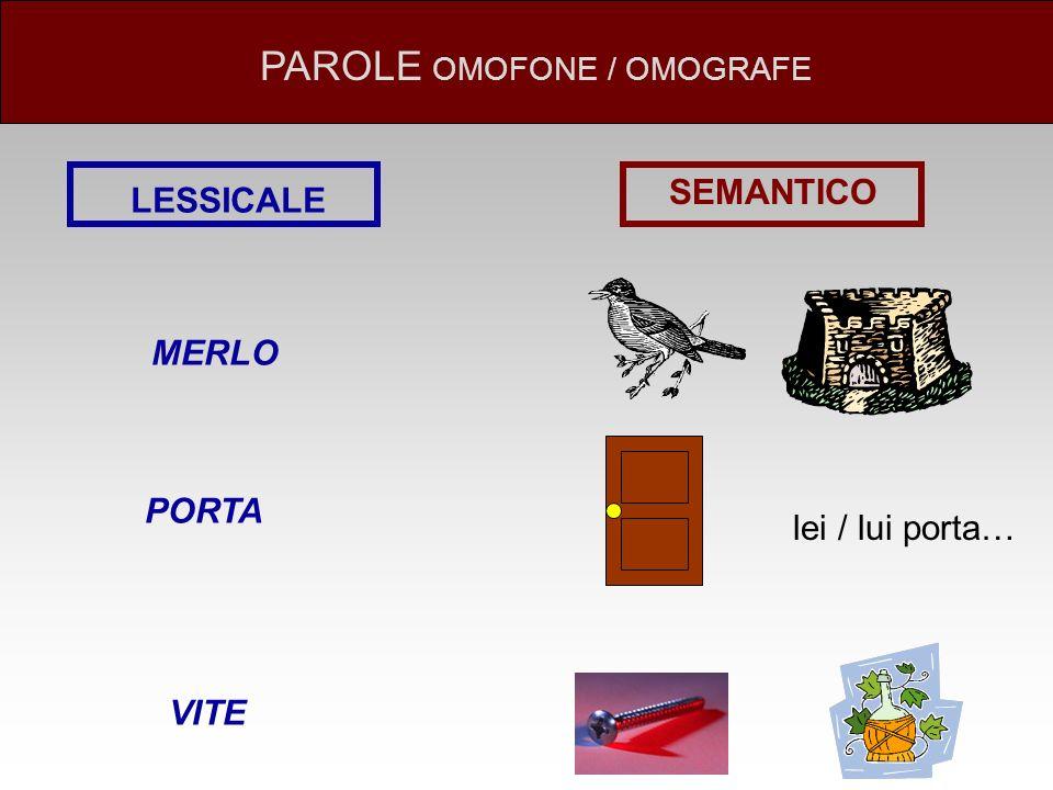 LESSICALE SEMANTICO MERLO PORTA VITE lei / lui porta… PAROLE OMOFONE / OMOGRAFE