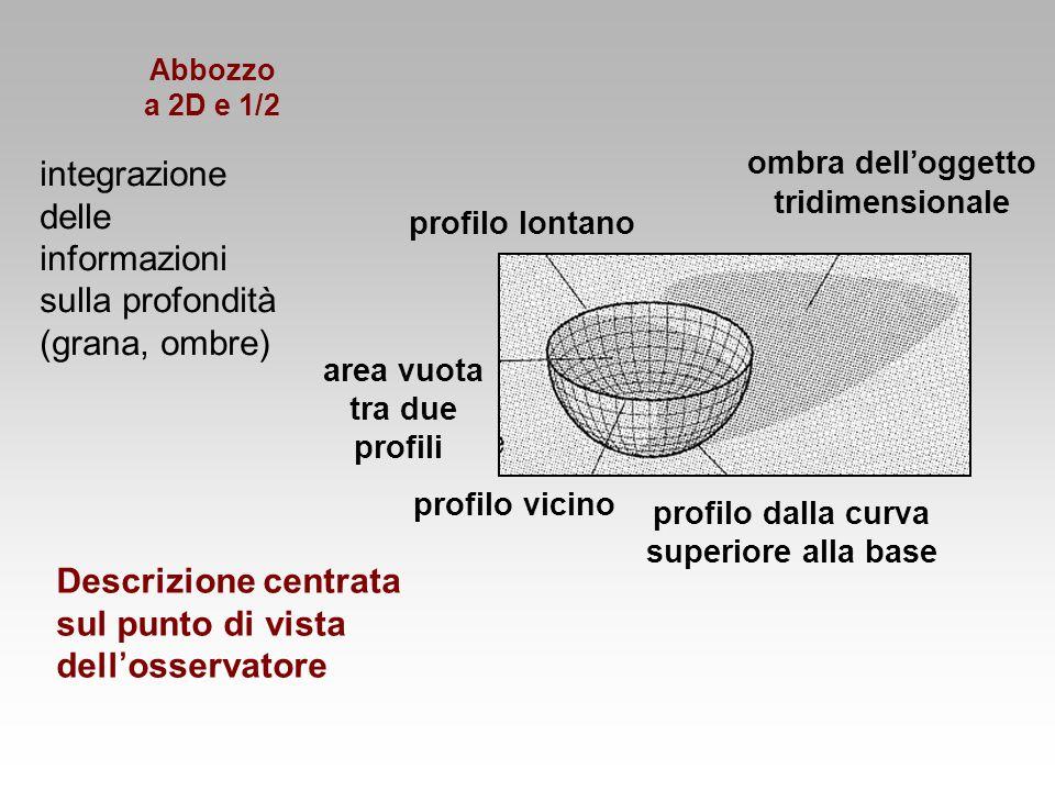 ombra delloggetto tridimensionale profilo dalla curva superiore alla base profilo lontano profilo vicino area vuota tra due profili integrazione delle
