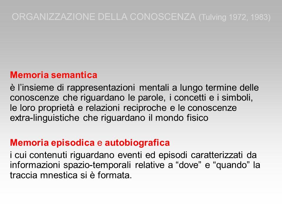 Memoria semantica è linsieme di rappresentazioni mentali a lungo termine delle conoscenze che riguardano le parole, i concetti e i simboli, le loro pr
