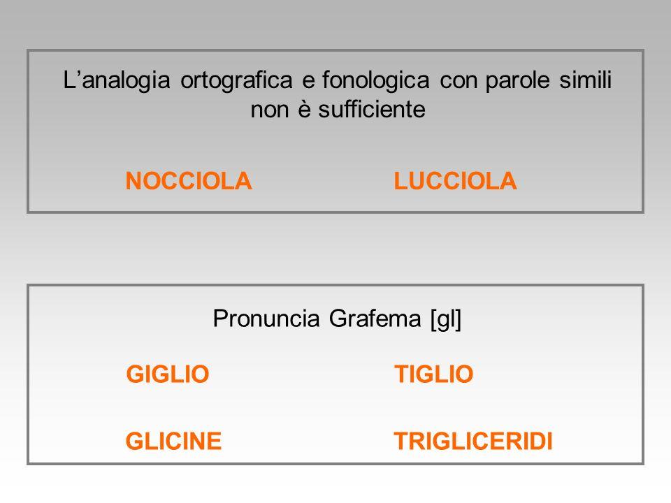 NOCCIOLALUCCIOLA Lanalogia ortografica e fonologica con parole simili non è sufficiente GIGLIOTIGLIO GLICINETRIGLICERIDI Pronuncia Grafema [gl]