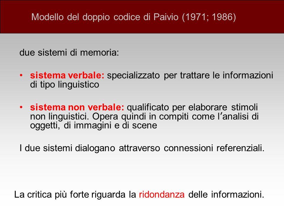 due sistemi di memoria: sistema verbale: specializzato per trattare le informazioni di tipo linguistico sistema non verbale: qualificato per elaborare