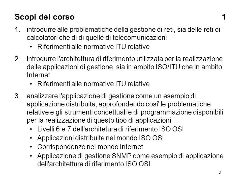3 Scopi del corso1 1.introdurre alle problematiche della gestione di reti, sia delle reti di calcolatori che di di quelle di telecomunicazioni Riferim