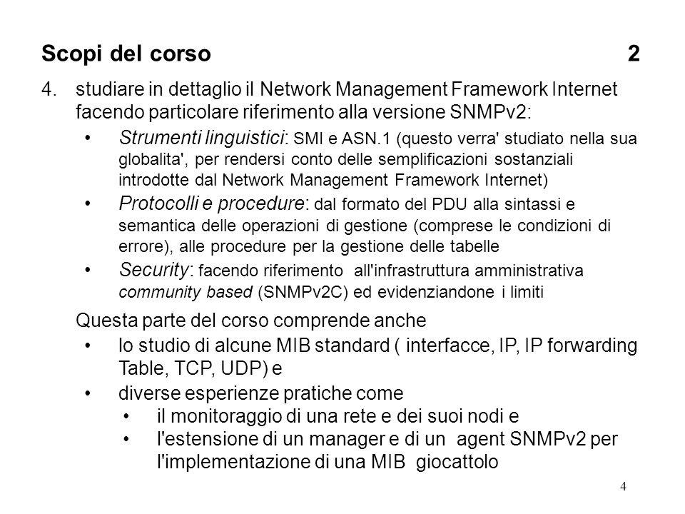 4 Scopi del corso2 4.studiare in dettaglio il Network Management Framework Internet facendo particolare riferimento alla versione SNMPv2: Strumenti li