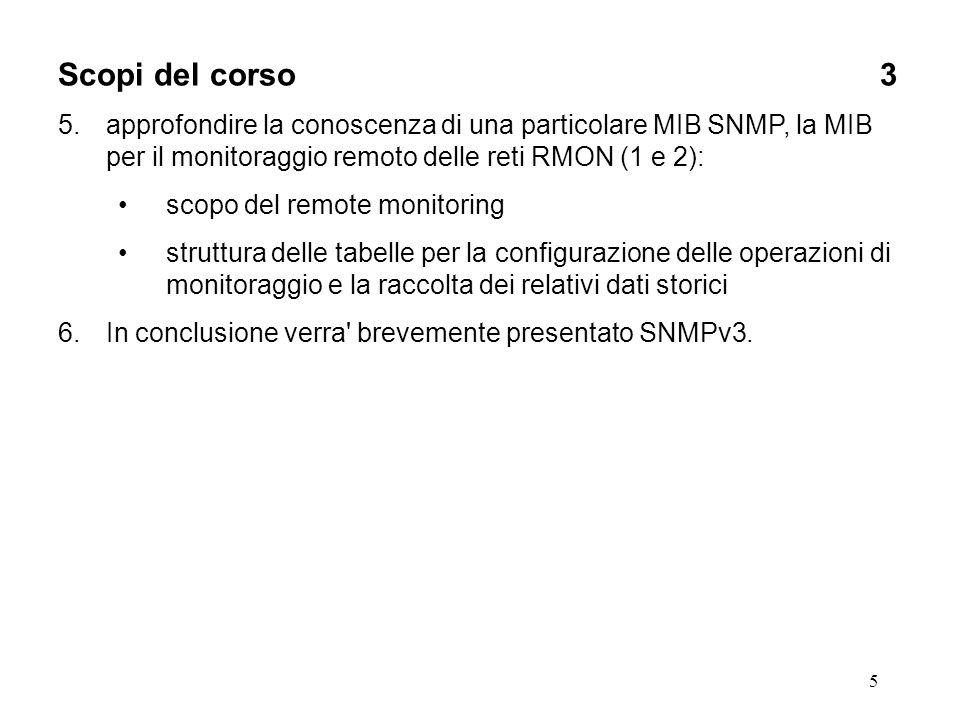 5 Scopi del corso3 5.approfondire la conoscenza di una particolare MIB SNMP, la MIB per il monitoraggio remoto delle reti RMON (1 e 2): scopo del remo
