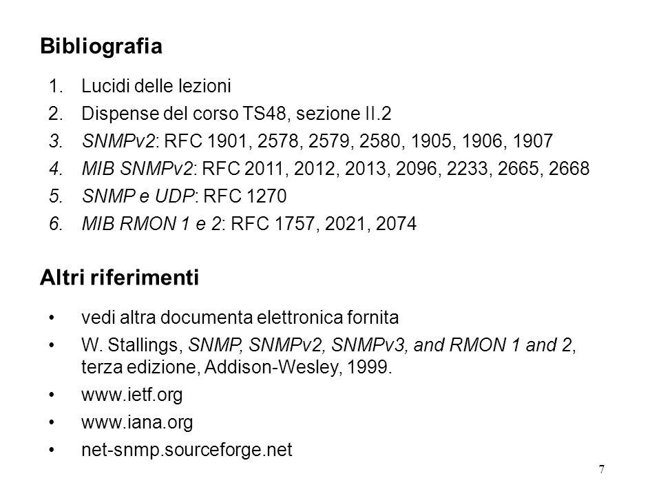 7 Bibliografia 1.Lucidi delle lezioni 2.Dispense del corso TS48, sezione II.2 3.SNMPv2: RFC 1901, 2578, 2579, 2580, 1905, 1906, 1907 4.MIB SNMPv2: RFC