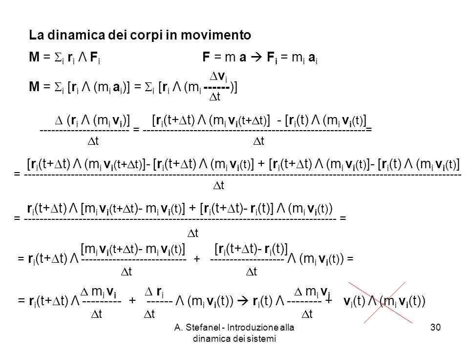 A. Stefanel - Introduzione alla dinamica dei sistemi 30 M = i r i Λ F i F = m a F i = m i a i M = i [r i Λ (m i a i )] = i [r i Λ (m i ------)] v i t