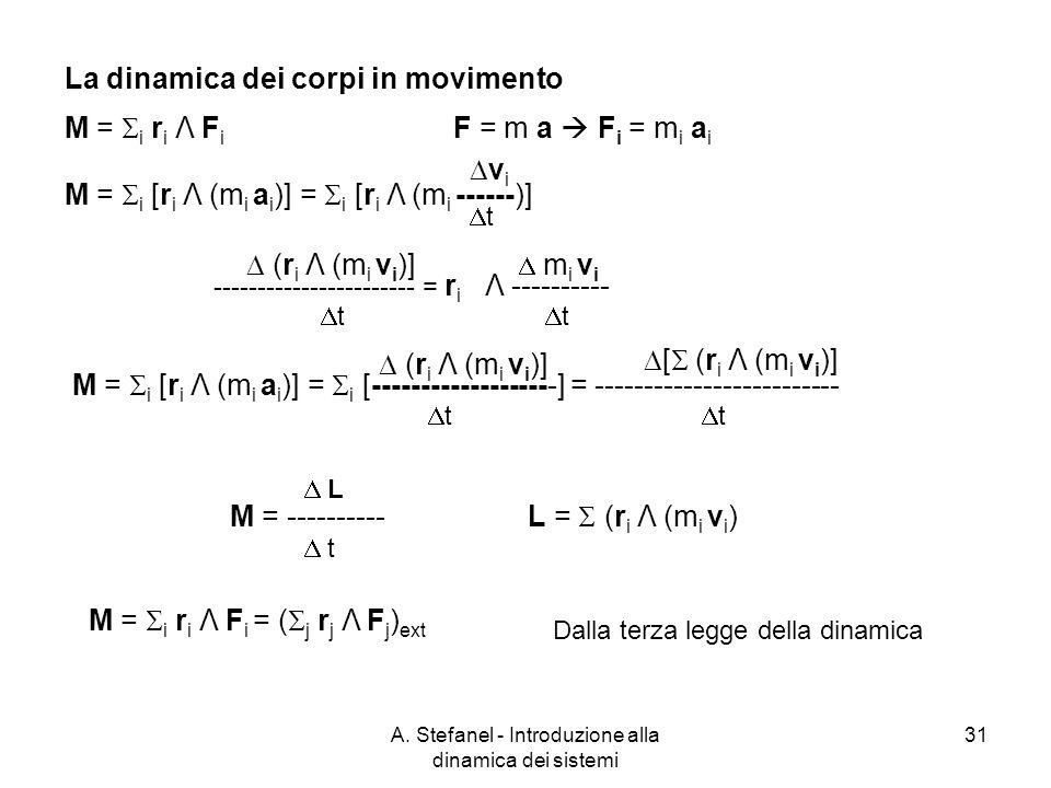 A. Stefanel - Introduzione alla dinamica dei sistemi 31 M = i r i Λ F i F = m a F i = m i a i M = i [r i Λ (m i a i )] = i [r i Λ (m i ------)] v i t