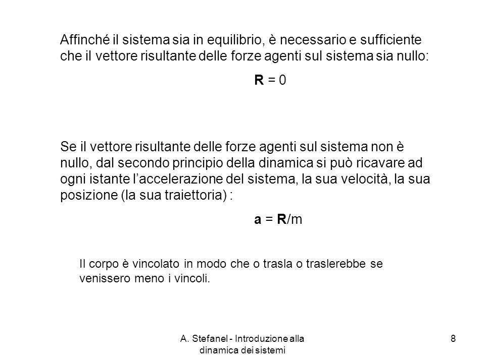 A. Stefanel - Introduzione alla dinamica dei sistemi 8 Affinché il sistema sia in equilibrio, è necessario e sufficiente che il vettore risultante del