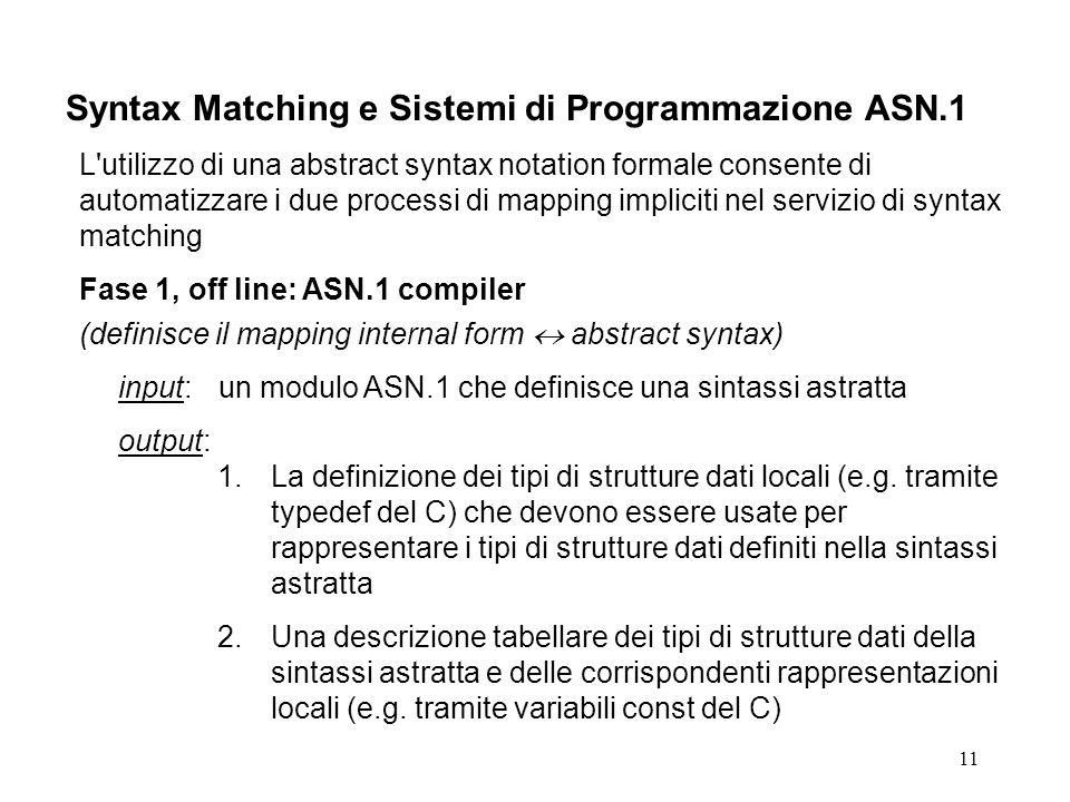 11 Syntax Matching e Sistemi di Programmazione ASN.1 L utilizzo di una abstract syntax notation formale consente di automatizzare i due processi di mapping impliciti nel servizio di syntax matching Fase 1, off line: ASN.1 compiler (definisce il mapping internal form abstract syntax) input:un modulo ASN.1 che definisce una sintassi astratta output: 1.La definizione dei tipi di strutture dati locali (e.g.