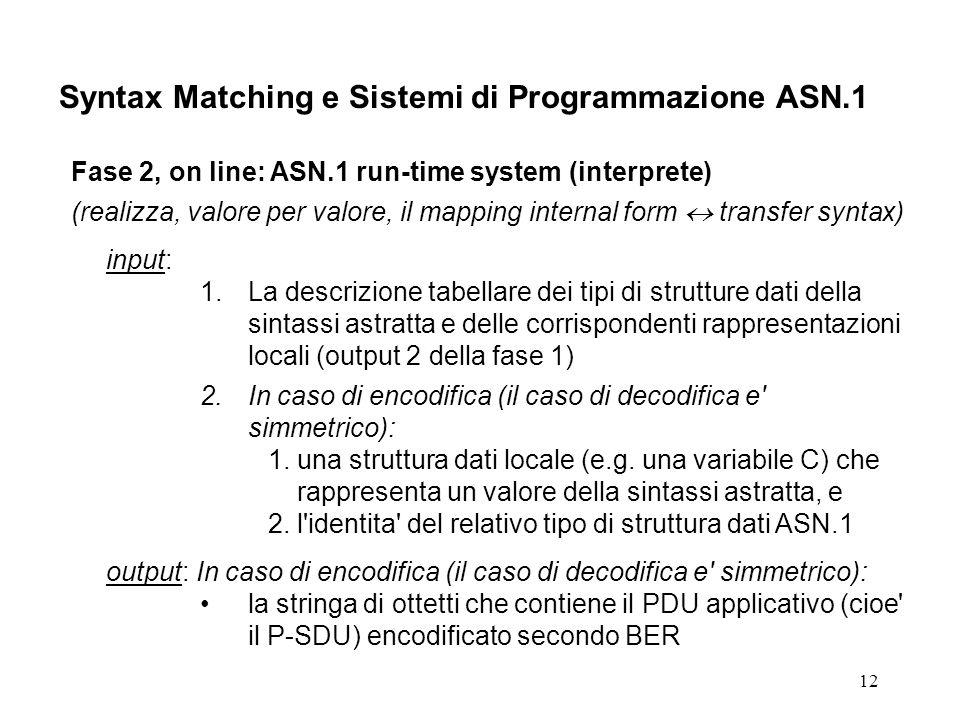 12 Syntax Matching e Sistemi di Programmazione ASN.1 Fase 2, on line: ASN.1 run-time system (interprete) (realizza, valore per valore, il mapping internal form transfer syntax) input: 1.La descrizione tabellare dei tipi di strutture dati della sintassi astratta e delle corrispondenti rappresentazioni locali (output 2 della fase 1) 2.In caso di encodifica (il caso di decodifica e simmetrico): 1.una struttura dati locale (e.g.