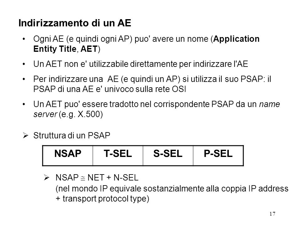 17 Indirizzamento di un AE Ogni AE (e quindi ogni AP) puo avere un nome (Application Entity Title, AET) Un AET non e utilizzabile direttamente per indirizzare l AE Per indirizzare una AE (e quindi un AP) si utilizza il suo PSAP: il PSAP di una AE e univoco sulla rete OSI Un AET puo essere tradotto nel corrispondente PSAP da un name server (e.g.