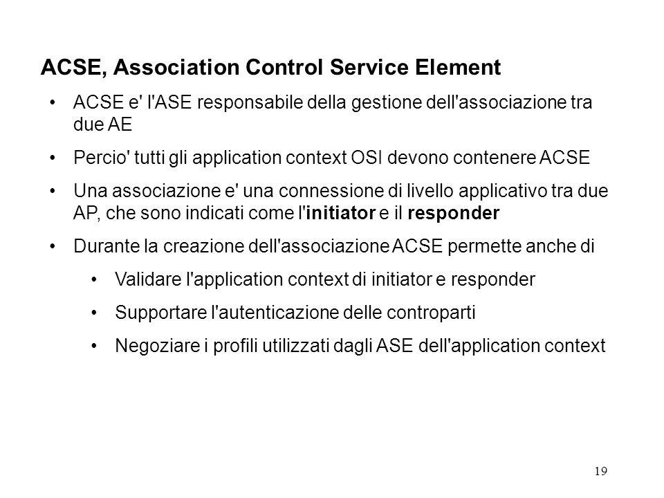 19 ACSE, Association Control Service Element ACSE e' l'ASE responsabile della gestione dell'associazione tra due AE Percio' tutti gli application cont