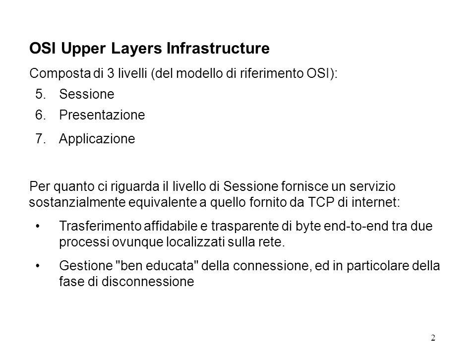 2 OSI Upper Layers Infrastructure Composta di 3 livelli (del modello di riferimento OSI): 5.Sessione 6.Presentazione 7.Applicazione Per quanto ci riguarda il livello di Sessione fornisce un servizio sostanzialmente equivalente a quello fornito da TCP di internet: Trasferimento affidabile e trasparente di byte end-to-end tra due processi ovunque localizzati sulla rete.