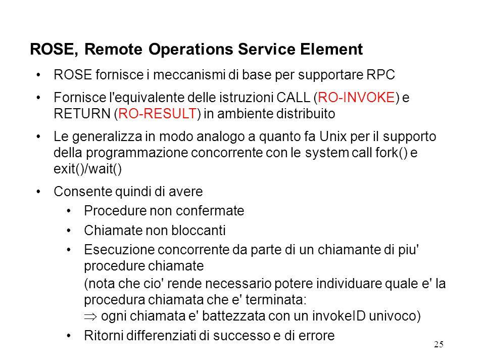 25 ROSE, Remote Operations Service Element ROSE fornisce i meccanismi di base per supportare RPC Fornisce l equivalente delle istruzioni CALL (RO-INVOKE) e RETURN (RO-RESULT) in ambiente distribuito Le generalizza in modo analogo a quanto fa Unix per il supporto della programmazione concorrente con le system call fork() e exit()/wait() Consente quindi di avere Procedure non confermate Chiamate non bloccanti Esecuzione concorrente da parte di un chiamante di piu procedure chiamate (nota che cio rende necessario potere individuare quale e la procedura chiamata che e terminata: ogni chiamata e battezzata con un invokeID univoco) Ritorni differenziati di successo e di errore