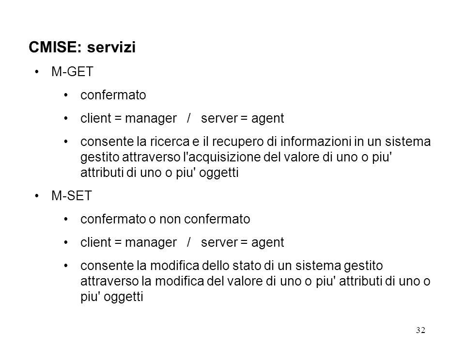 32 CMISE: servizi M-GET confermato client = manager / server = agent consente la ricerca e il recupero di informazioni in un sistema gestito attraverso l acquisizione del valore di uno o piu attributi di uno o piu oggetti M-SET confermato o non confermato client = manager / server = agent consente la modifica dello stato di un sistema gestito attraverso la modifica del valore di uno o piu attributi di uno o piu oggetti