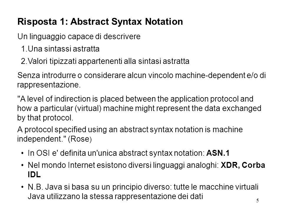 5 Risposta 1: Abstract Syntax Notation Un linguaggio capace di descrivere 1.Una sintassi astratta 2.Valori tipizzati appartenenti alla sintasi astratta Senza introdurre o considerare alcun vincolo machine-dependent e/o di rappresentazione.
